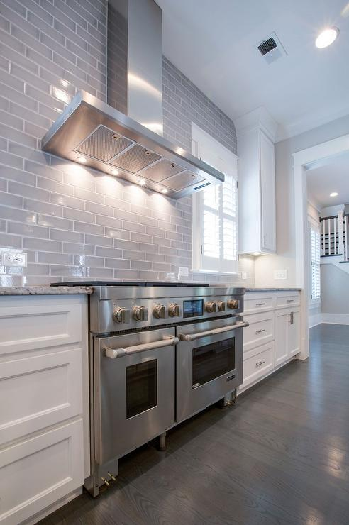 Kitchen With Gray Subway Tiled Backsplash Transitional