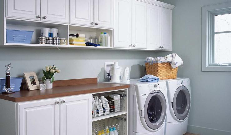Laundry Room With Pull Out Metal Shelves Transitional