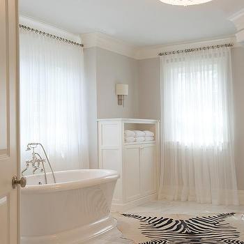 Bathroom with Zebra Cowhide Rug, Transitional, Bathroom, Benjamin Moore Stonington Gray