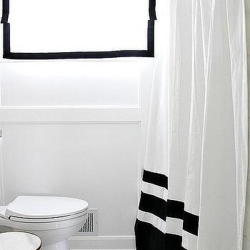 Black and White Color Block Shower Curtain, Transitional, Bathroom