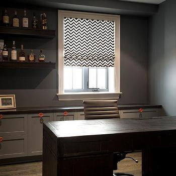 Home Office with Bar Shelves, Transitional, Den/library/office