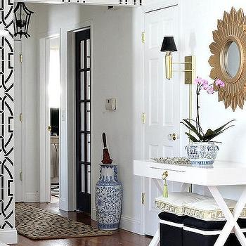 Foyer with Sunburst Mirror, Transitional, Closet