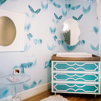 Turquoise Changing Table, Contemporary, Nursery