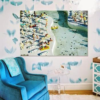 Nursery with Turquoise Velvet Rocker, Contemporary, Nursery
