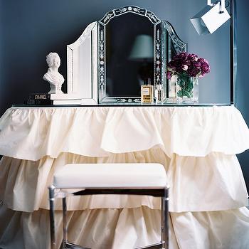 Ruffled Make Up Vanity, Transitional, Closet