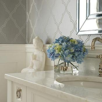 Silver moroccan trellis wallpaper design ideas bathroom with buddha mightylinksfo