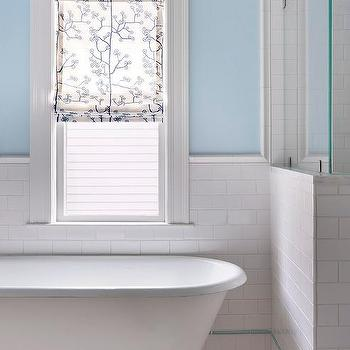 White and Blue Bathroom Design, Transitional, Bathroom, Benjamin Moore Harbor Haze