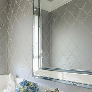 Silver bathroom wallcovering design ideas for Bathroom wallpaper wall coverings