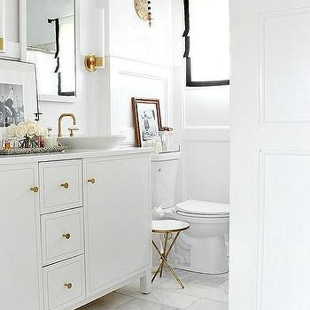 White Walls and Black Crown Moldings, Transitional, Bathroom