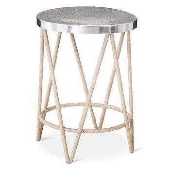 Threshold Rope Wrapped Accent Table with Hammered Metal Top
