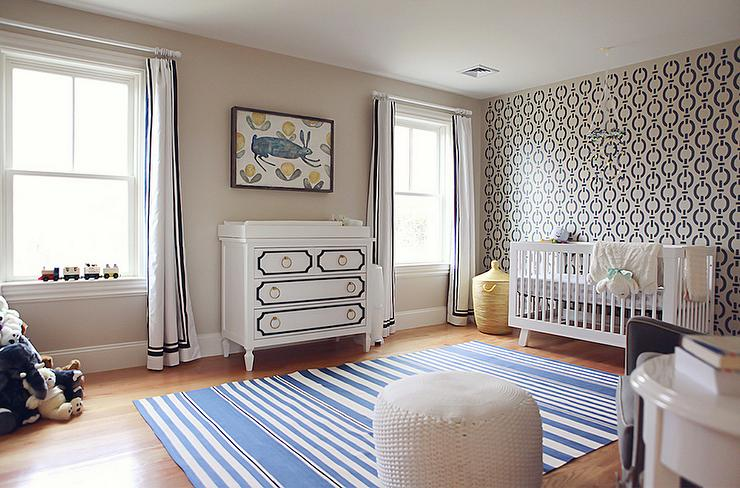 Nursery With Nautical Wall Stencils Contemporary Nursery