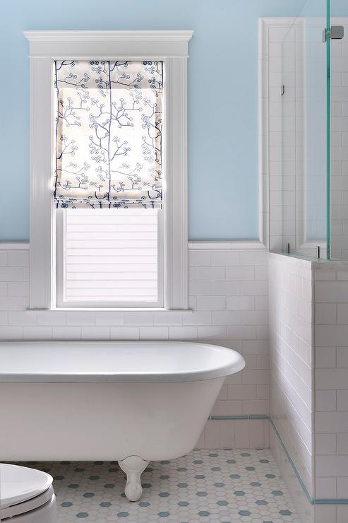 White and Blue Bathroom Design view full size. Bathroom Blue Subway Tiles Design Ideas