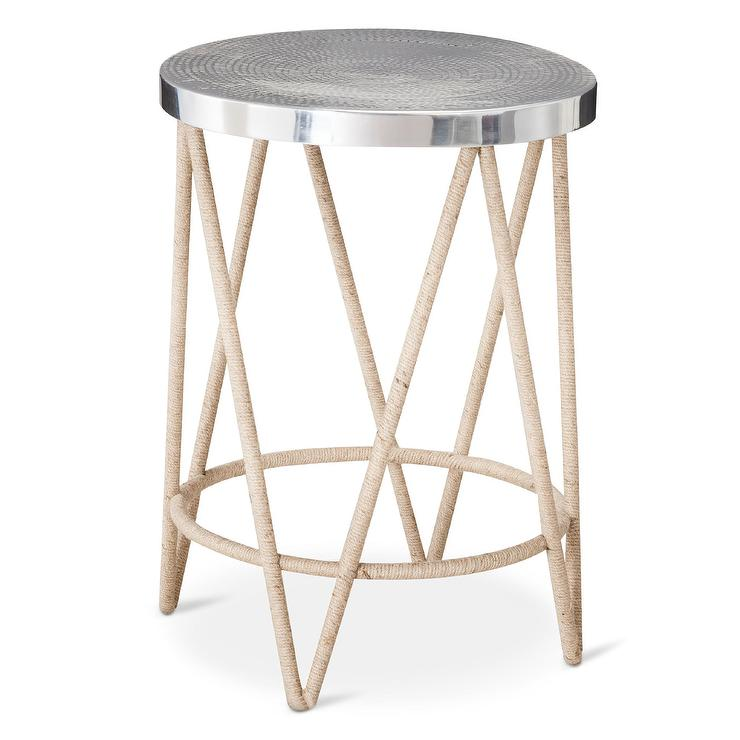 threshold natural rope wrapped accent table with silver. Black Bedroom Furniture Sets. Home Design Ideas