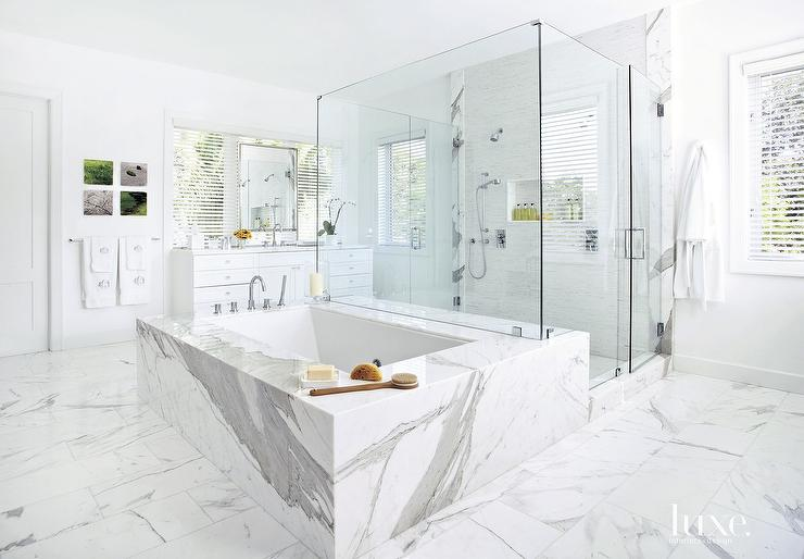 Statuary Marble Bathroom Floor Design Ideas