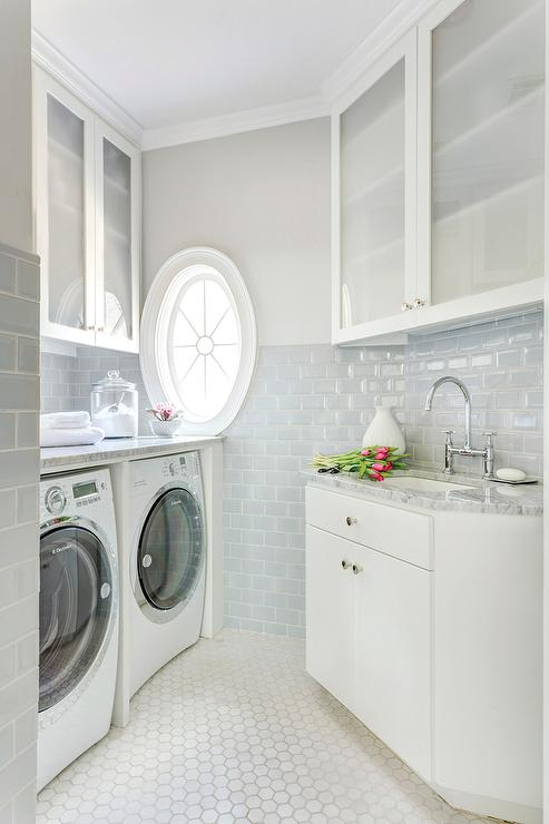 Laundry Room With Blue Subway Tiles Transitional