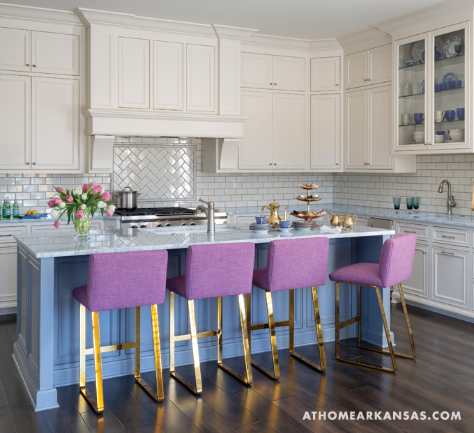 Purple Counter Stools Contemporary Kitchen