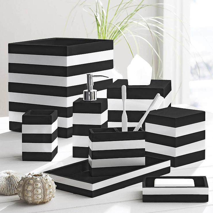 Black and white cabana black by kassatex for White bathroom accessories set