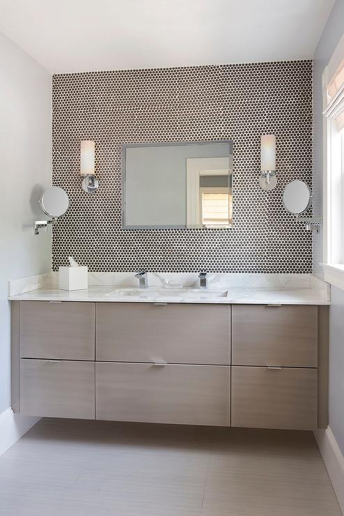 Taupe floating bathroom vanity design ideas for Taupe bathroom ideas