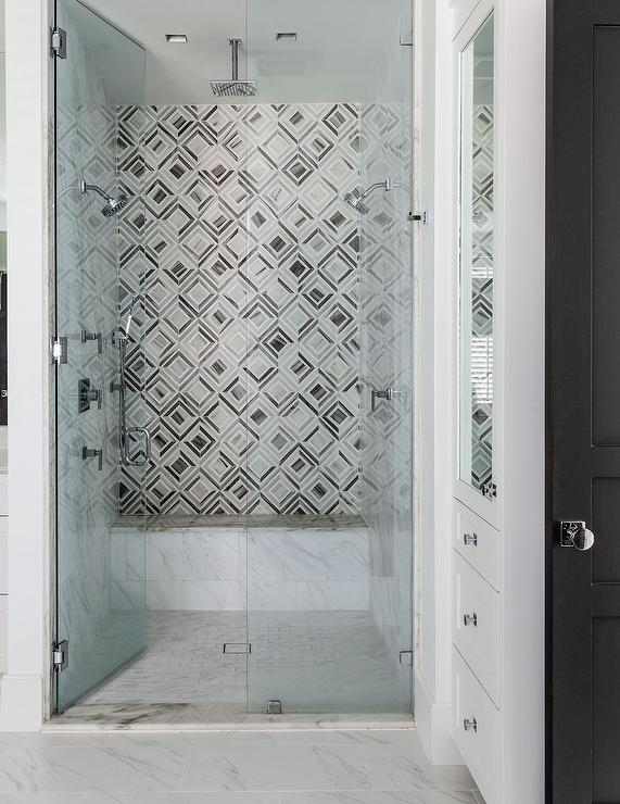 Geometric Shower Tiles Contemporary Bathroom