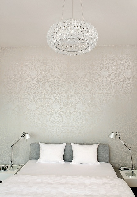 Silver Damask Wallpaper