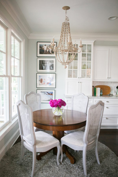 Grey French Cane Back Dining Chairs Transitional