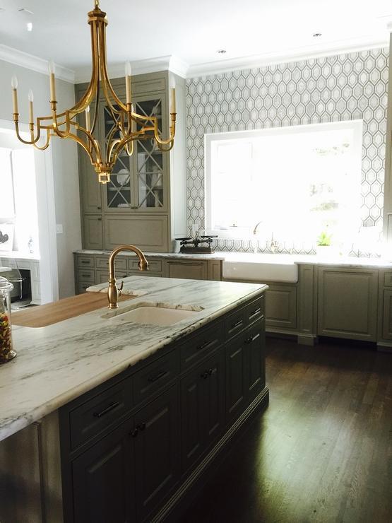 Gray Cabinets with Dark Gray Island - Contemporary - Kitchen