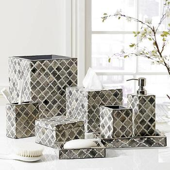 White And Grey Luxury Bath Accessory Sets