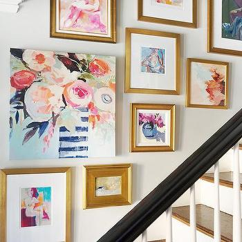 Art Gallery on Staircase Wall, Transitional, Entrance/foyer