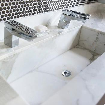 White Marble Trough Sink with Two Faucets, Contemporary, Bathroom