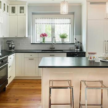 Cream Kitchen Cabinets with Soapstone Countertops, Transitional, Kitchen, Benjamin Moore Windham Cream