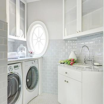 Laundry Room with Blue Subway Tiles, Transitional, Laundry Room