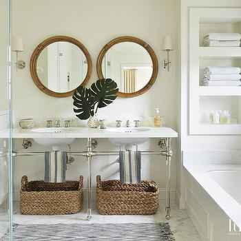 Beautiful Tub Under Built In Shelves