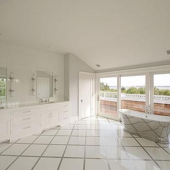 White Diamond Pattern Bathroom Floor Tiles Design Ideas