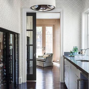 Butler Pantry with Glass Pocket Door, Transitional, Kitchen