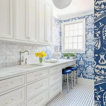Blue Laundry Room Wallpaper, Contemporary, Laundry Room