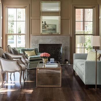 Mirrored Coffee Table with Gold trim, Transitional, Living Room