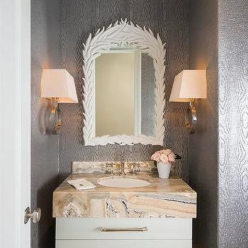 Silver Faux Bois Wallpaper, Transitional, Bathroom