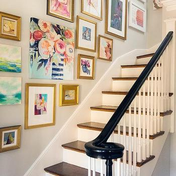 Staircase Wall Art Gallery, Transitional, Entrance/foyer