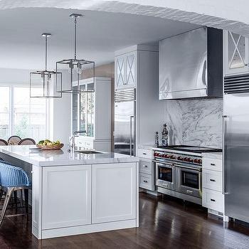 Stove Between Refrigerators, Transitional, Kitchen