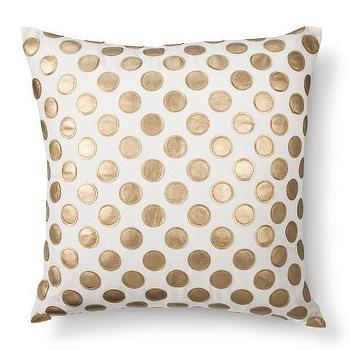 Leather Applique Polka Dot Toss Pillow