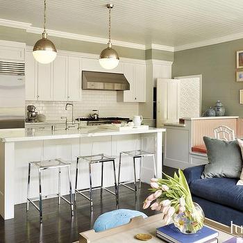 White and Green Kitchen Design, Transitional, Kitchen