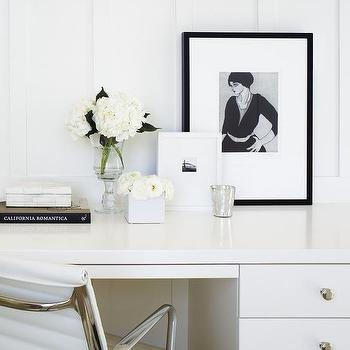 White Office with Black Accents, Transitional, Den/library/office