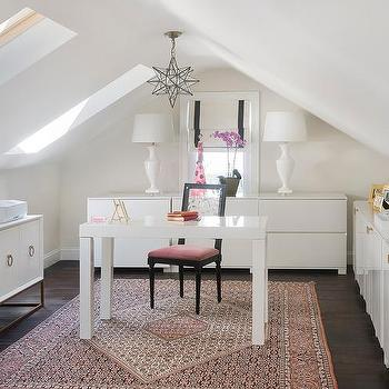 white and pink office design attic office ideas