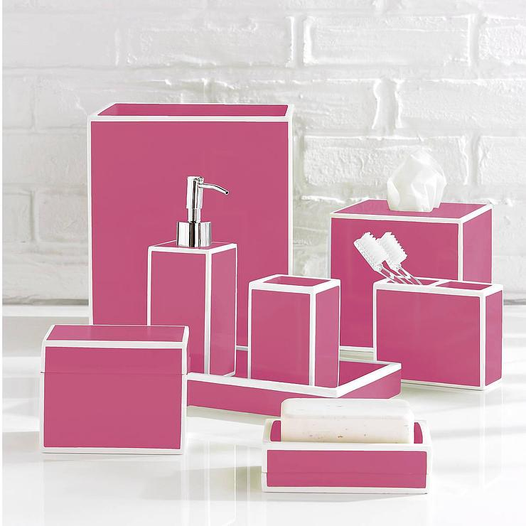 Luxury pink bath accessory sets for Red and white bathroom accessories