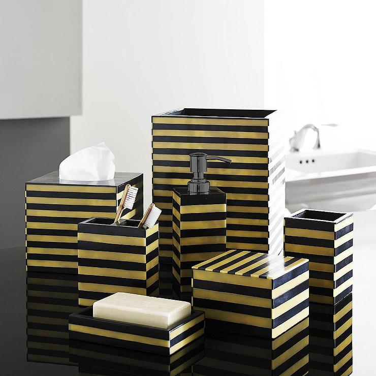 Gold and black luxury bath accessory sets for Black and white bath accessories