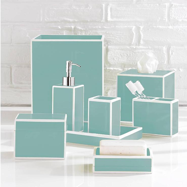 Luxury blue bath accessory sets for Bathroom accessories set