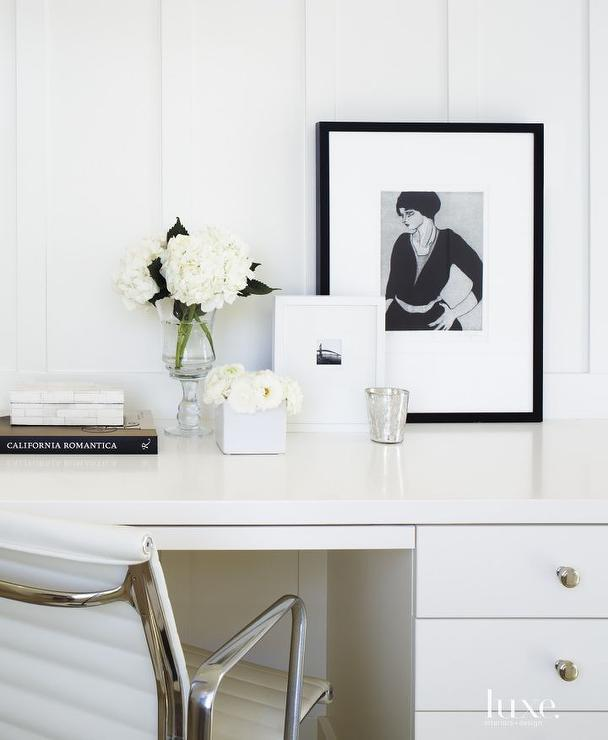 White Office With Black Accents Transitional Den