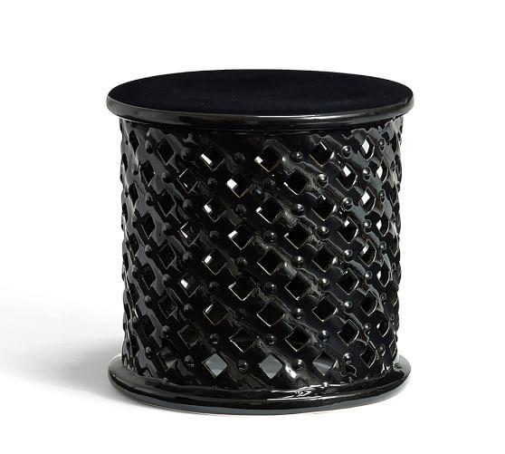 bamileke black ceramic accent table view full size - Outdoor Accent Tables