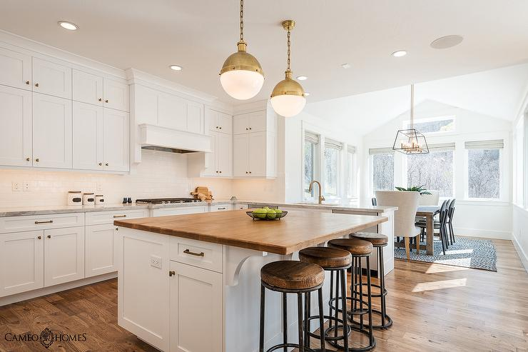 White Kitchen Island With Butcher Block Top Transitional