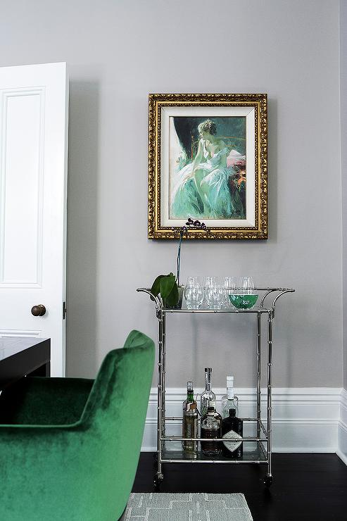 Gray Dining Room with Brass Bar Cart and Gray Abstract Art ...